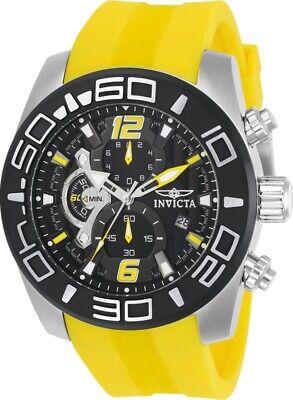 Invicta Mens Pro Diver 50MM Black Dial Chronograph Yellow Strap Rubber Watch