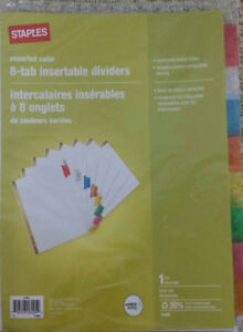 8 tabs -insertable dividers
