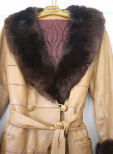 Women's Full Length Leather and Beaver Fur Coat Size Large London Ontario image 2