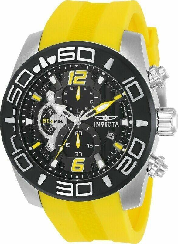 Invicta Men's Pro Diver 22808 50mm Black Dial Silicone Chron