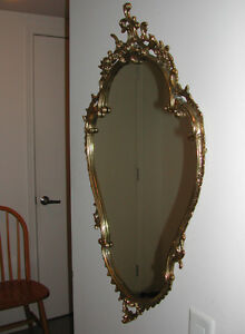 Solid Brass Mirror. Marble Table. Made in Italy.