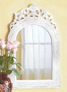 Distressed White Wall Mirror With Arched Top Brand New