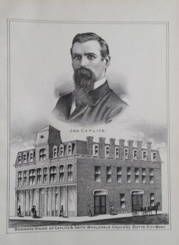 Orig 1885 Caplice & Smith Grocers Print Butte City MT Montana Territory