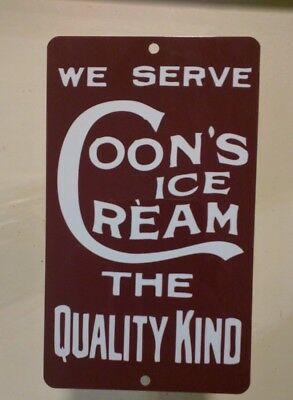Coons Ice Cream Dairy metal door push Advertising Sign vintage soda shop S08