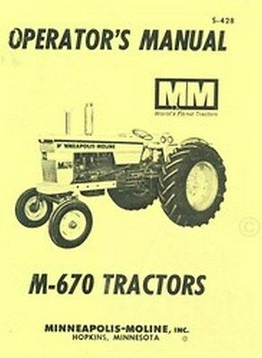 Minneapolis Moline M-670 M670 Operators Owners Manual