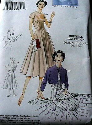 1950s VOGUE VINTAGE MODEL DRESS SEWING PATTERN 6-8-10-12-14 UNCUT