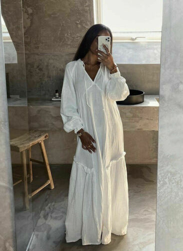 H&M SS2020 TREND 100% Cotton Kaftan Dress White Long Soft BLOGGERS SOLD OUT