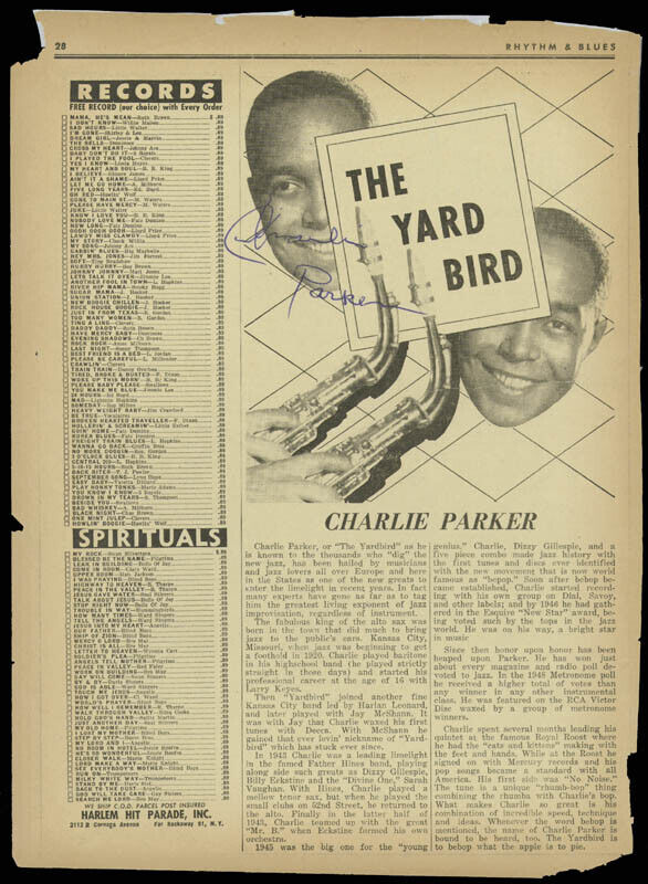 "CHARLIE ""BIRD"" PARKER - MAGAZINE PHOTOGRAPH SIGNED"