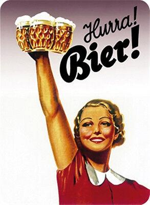 Hurra Bier! Blechschild 8x11 cm Blechkarte Sign PC-201/558