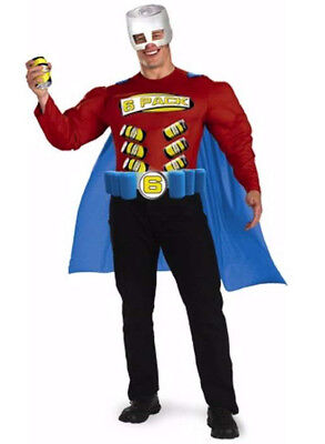 Disguise Zero To Hero Super 6 Pack Man Belt Holds Six Cans costume Size 42/46 - Packman Costume