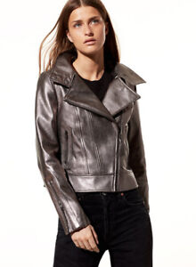 XS Aritzia Mackage Kenya Metallic Leather Jacket