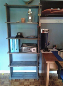 SOLID PINE BOOKCASE WITH 2-DOOR CABINET, WOODEN BOOKCASE SHELVES West Island Greater Montréal image 4