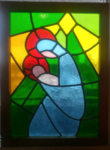 Christmas leaded stained glass Mary