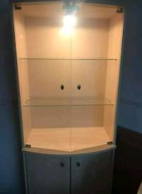 Light Oak Half Glass Cabinet and Sideboard Storage Set