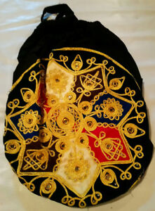 Hand Bag Round Velvet with Beads , Mirrors & Embroidery