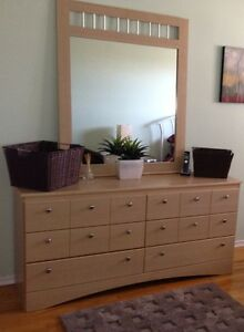 Wooden dressers & 1 antique w/mirror & bench