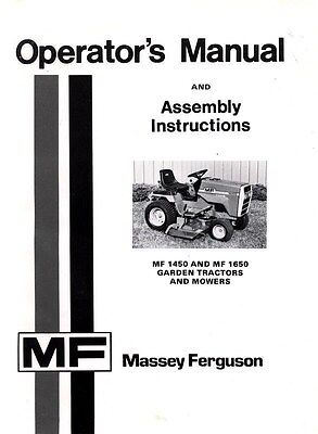 Massey Ferguson Mf 1450 Mf 1650 Mf1450 Mf1650 Garden Tractor Operators Manual