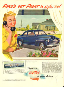 Large vintage magazine ad for 1946 Ford automobiles