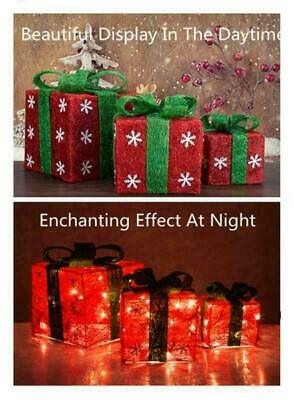 Holiday (SET OF 3) Lighted Christmas Gift Boxes Presents In/Outdoor Decor