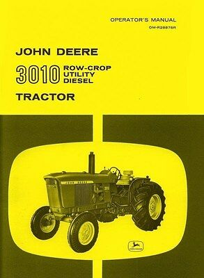 John Deere 3010 Row Crop Utility Diesel Tractor Operators Manual Jd