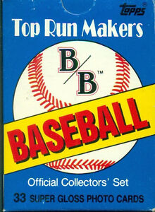 1987 TOPPS B & B TOP RUN MAKERS COLLECTORS' 33 Card Set