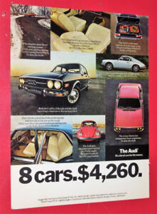 1973 AUDI SEDAN RETRO CAR AD WITH PORSCHE & VW BEETLE - VINTAGE