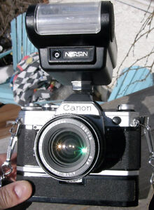 Canon AE-1 35mm SLR film Camera with 28mm Lens, Flash, Winder VG