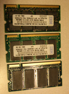 3 x Laptop RAM Cards, 256 MB each