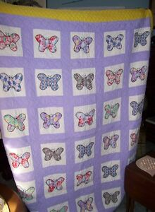 Antique  homemade Butterfly Quilt Double bed size