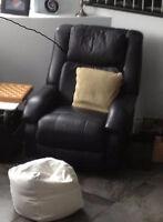 Fauteuil inclinable 3 positions - en (vrai) cuir noir