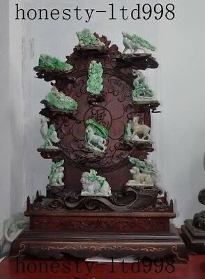 Natural Emerald Jadeite Jade carved 12 Zodiac Year Dragon Horse Animal Stand Set