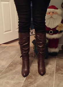 Dark brown leather stiletto boots, size 10, worn once, $40 ono St. John's Newfoundland image 8