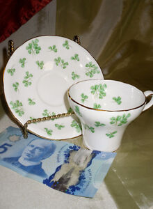 AYNSLEY England Bone Chine CLOVER pattern cup & saucer