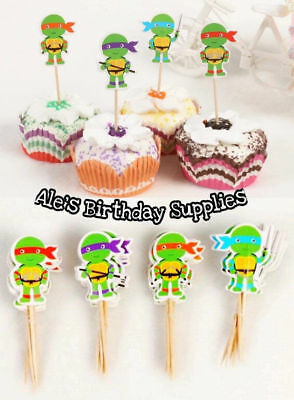 Teenage Mutant Ninja Turtles Cupcakes ((24) Pc Teenage Mutant Ninja Turtles Cupcake Toppers Double Sided)