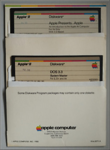 """Apple IIe 5.25"""" DOS 3.3 System Master and Apple Presents"""