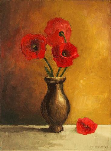 Poppy Flowers ORIGINAL HANDMADE OIL PAINTING ON CANVAS Realism Still Life 9 x 12