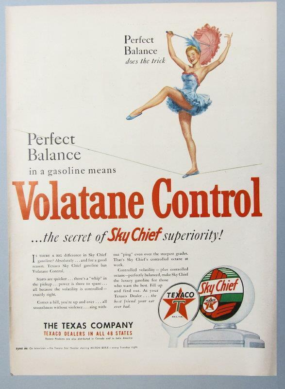 Original 1950 Texaco Sky Chief Ad HIGH WIRE PERFECT BALANCE ..VOLATANE CONTROL