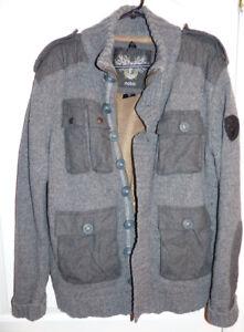 Nobis Grey Lined Lambswool Men's Zip Sweater Size XL