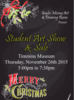 Student art show and sale at the Timmins museum