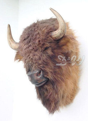 BÜFFEL BÜFFELKOPF mit FELL lebensgroß JAGDTROPHÄE Tier Deko Figur WILDTIER