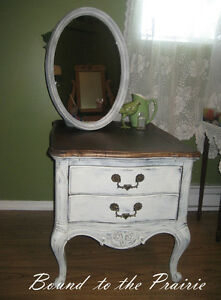 Updated French Provincial Night Table w/matching Mirror!~$210
