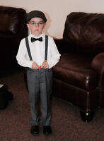 Vintage boys outfit - newsboy hat, suspenders and bowtie Size 5T