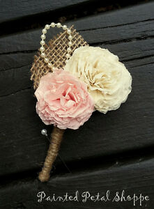 Coffee Filter Boutonniere/Rustic Wedding Flowers/Groom's Flower