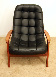 PERFECT R. Huber .TEAK LEATHER LOUNGER w/ Bonus! SEE VIDEO