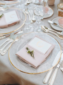 201 glass gold rim charger plates for $1400 ($7/pc) for weddings