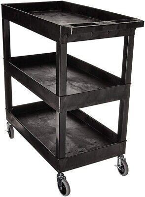 Plastic Utility Service Cart Heavy Duty Shelves Industrial Handcart Push 2 Shelf