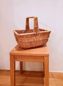 Vintage wicker shopping basket c1940-1960