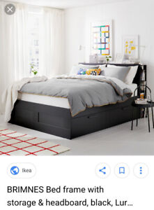 King Size Brimnes Black IKEA bedframe with headboard.