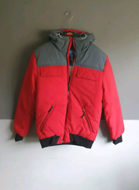 mens boys adidas originals hooded puffer bomber jacket red grey xs