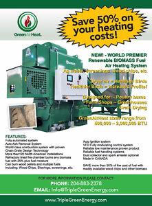 Biomass powered Forced GreenAirHeat